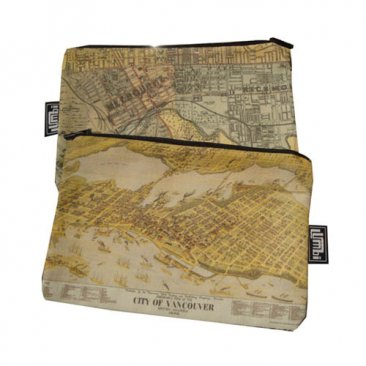 My Two Worlds Pencil Case 18x10cm Melbourne & Vancouver Maps