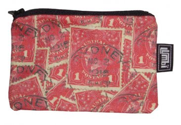 Ipod / Coin Case 13x9cm Pence Stamp Red