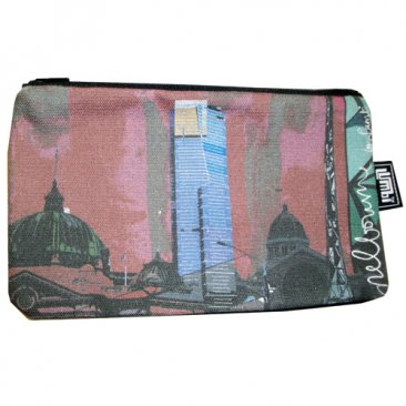 Pencil Case 18x10cm Melbourne Collage Red