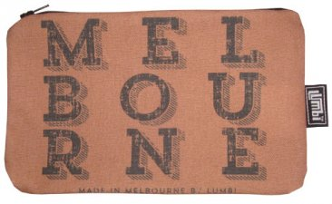 Pencil Case 18x10cm Melbourne Text Vintage Choc Black Text