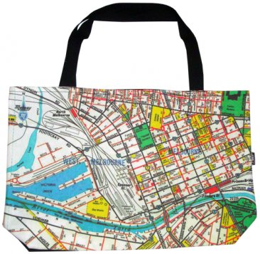 Shopper Bag 30x40x10cm Melway Maps Natural for most suburbs