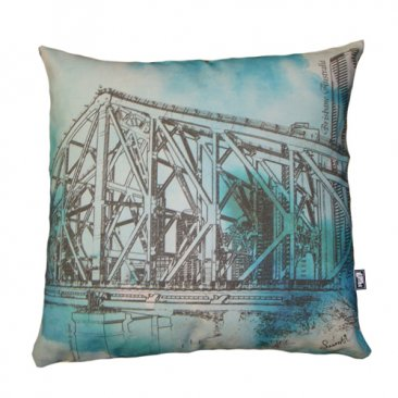 Cushion Story Bridge Watercolour Green