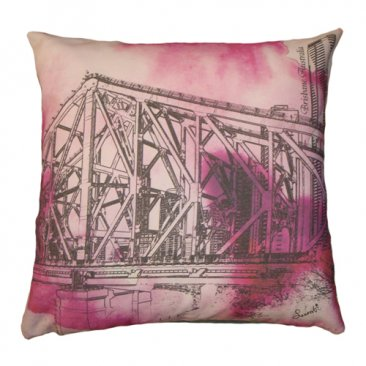 Cushion Story Bridge Watercolour Pink