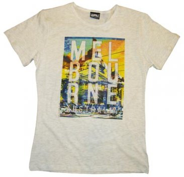 T-Shirt White-Marle Cotton Melbourne on Flinders Street