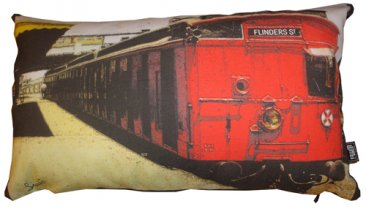 Cushion 50x30cm Red Rattler Tait Train Melbourne