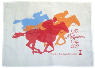 Tea Towel 50x70cm Linen/Cotton Melbourne Cup Three Horses