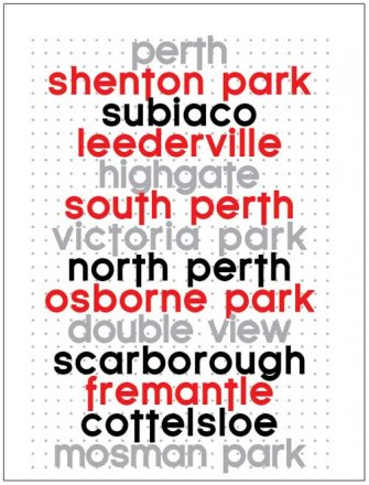 Tea Towel 50x70cm Linen/Cotton Perth to Mosman Park