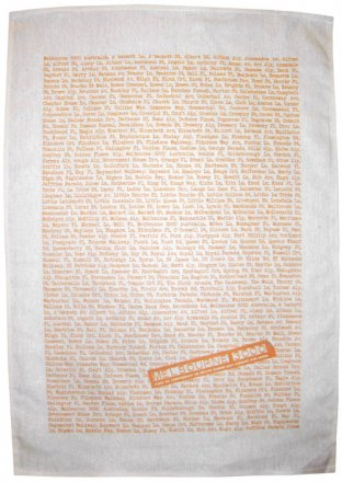 Tea Towel 50x70cm Linen/Cotton Melbourne The Streets Orange