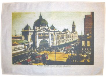 Tea Towel 50x70cm Linen/Cotton Flinders St Ye-Olde