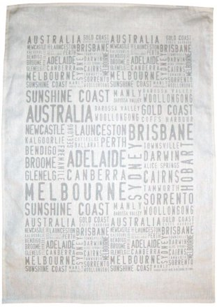 Tea Towel 50x70cm Linen/Cotton Australia Cities