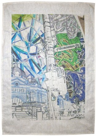 Tea Towel 50x70cm Linen/Cotton Established Vs. Emerging Invert