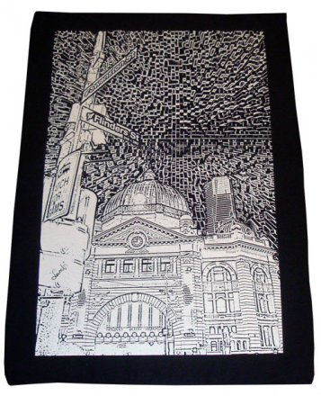 Tea Towel 50x70cm Linen/Cotton Flinders St Etching