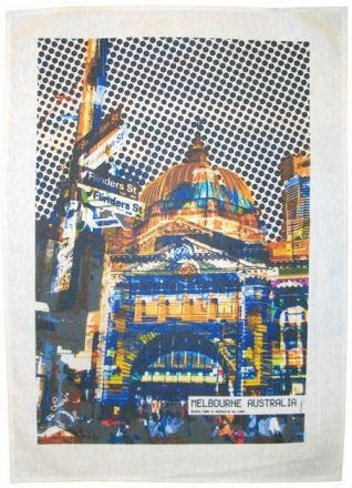 Tea Towel 50x70cm Linen/Cotton Flinders Street Yellow