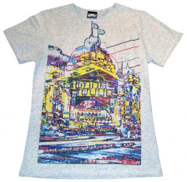 T-Shirt Grey Marble Flinders Street Coloured Lines