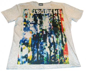 T-Shirt Grey Marle Melbourne Scrambled Signal
