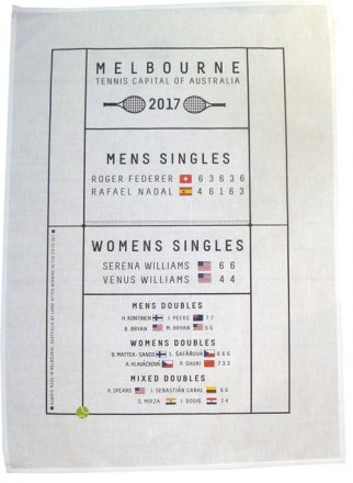 Tea Towel 50x70cm Tennis Capital 2017 Game Winners