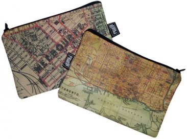 My Two Worlds Pencil Case 18x10cm Melbourne & Toronto Maps
