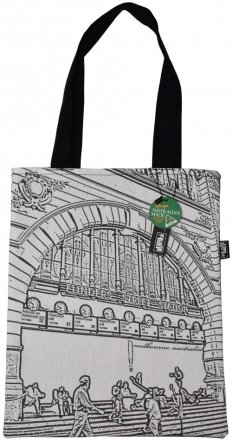 Tote Bag 33X40cm Flinders Street Clocks White