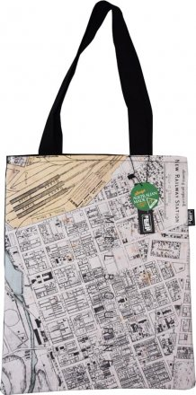 Tote Bag 40x33cm New Railway Station Map 1878