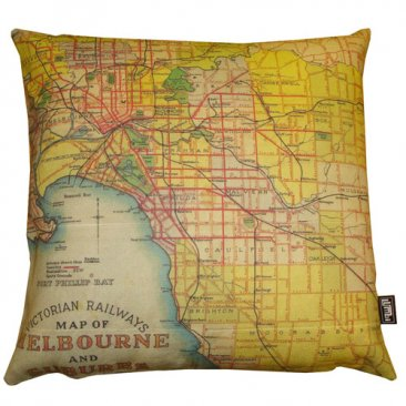 Cushion Victoria Rail Melbourne & Suburbs Map 1934