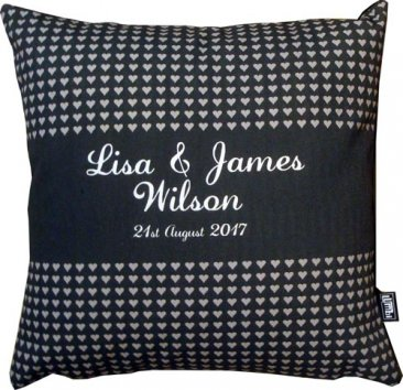 Cushion Wedding Hearts Stripe Black