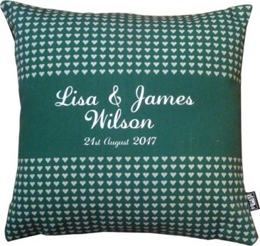 Cushion Wedding Hearts Stripe Green
