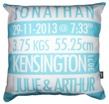 Cushion Personalised Birth Baby Blue