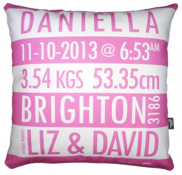 Cushion Personalised Birth Pink
