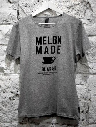 Unisex T-Shirt Grey Marle Melb Made Coffee Cup