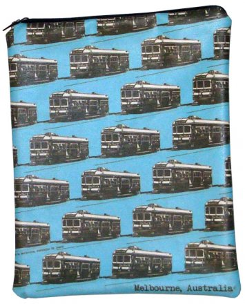 iPad Cover with Zipper Vintage Trams Blue