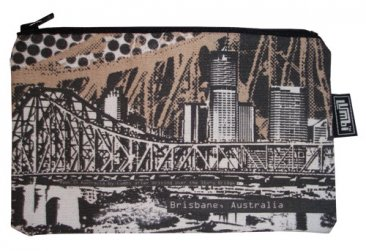 Pencil Case 18x10cm Story Bridge Brown