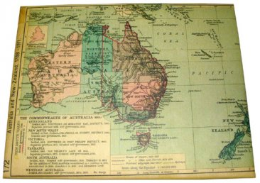 Art Canvas 20x25cm Australian Map 1923