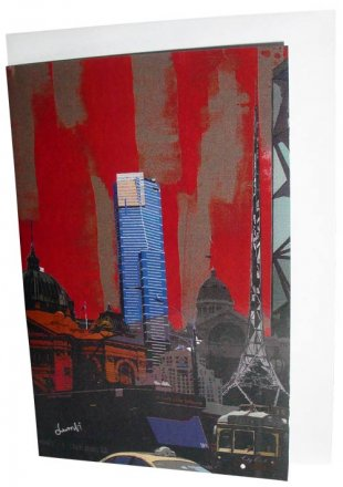 Greeting Card A6 Melbourne Collage Red