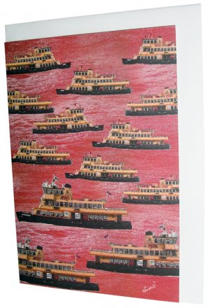Greeting Card A6 Sydney Ferries Red