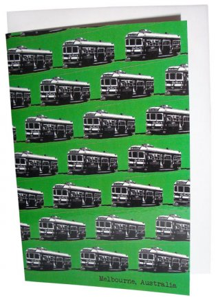 Greeting Card A6 Trams Green