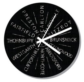 Clock 27cm Destination Carlton to Preston