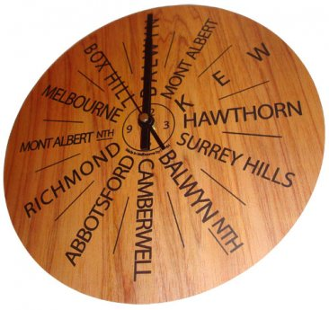 Clock 27cm Personalised Wood (your own 12 destinations)