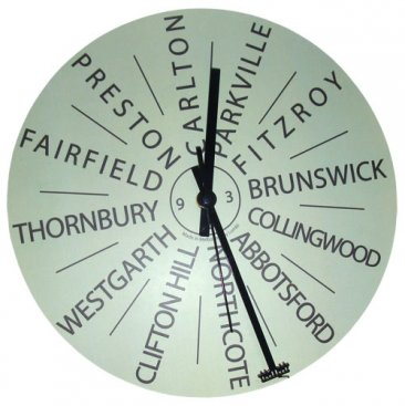 Clock 27cm Destinations Mint with Tram Hand