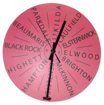 Clock 27cm Personalised Destination Salmon (your own 12 destinations)