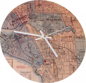 Clock 27cm Whiteheads 1887 Map of Melbourne