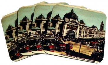 Coasters Set of 4 Flinders St Ye-Olde