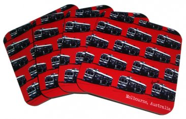 Coasters Set of 4 Trams Red