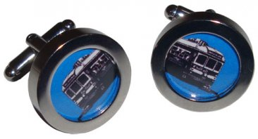 Cuff Links Trams Blue