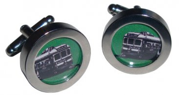 Cuff Links Trams Green