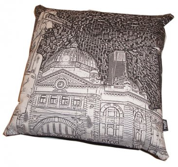 Cushion Flinders Street Etchings