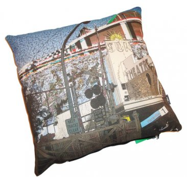 Cushion Yarraville Collage Blue