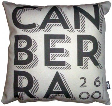 Cushion Canberra Text Silver/Black