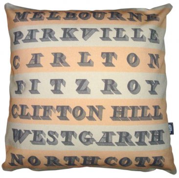 Cushion Destination Stripes with Vintage Text