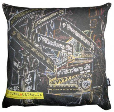 Cushion Melbourne Signs Black Neon