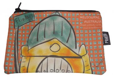 Pencil Case 18x10cm Flinders St on Orange Tartan